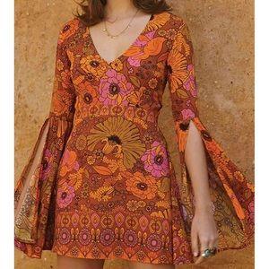 Roskiki bell sleeve floral mini dress